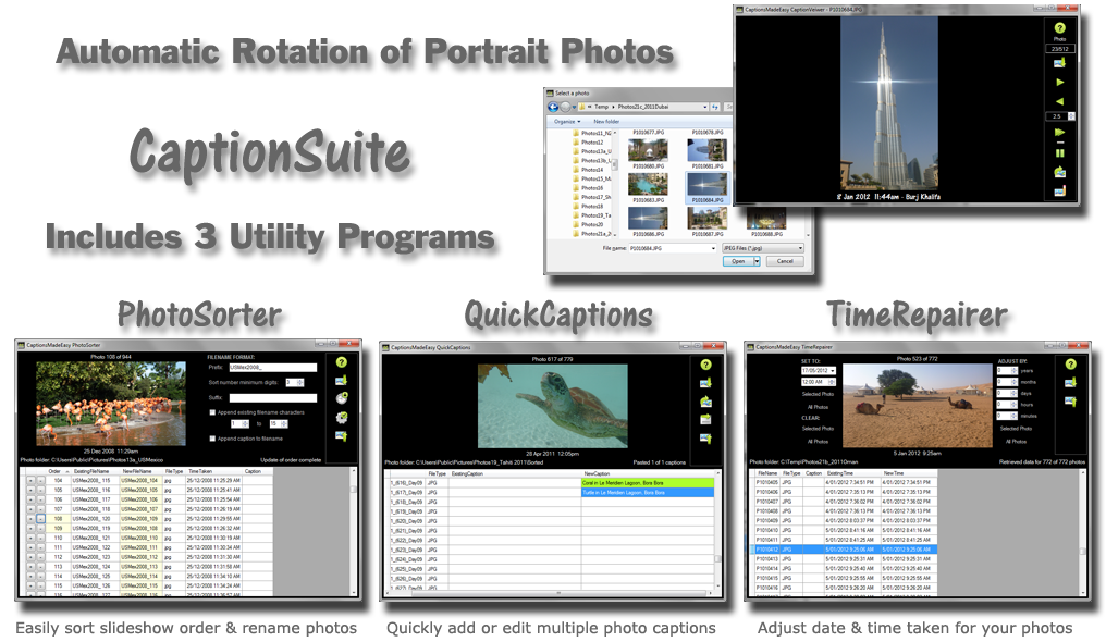 CaptionSuite Includes PhotoSorter, QuickCaptions and Time Repairer